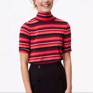 Ann Taylor LOFT Turtleneck Striped Swing Tee Shirt